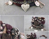 Grape Purple Boho Bracelet Set, Gypsy Bracelet Marsala Gray Pink Bohemian Jewelry, Hippie Bracelet
