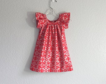 Red and Silver Flutter Sleeve Dress - Red Dress with Metallic Silver Damask Print - Girls Red Dress - Size 12m, 18m 2T, 3T, 4T, 5, 6 or 8