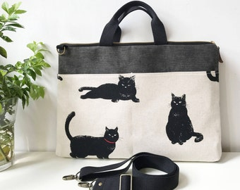 Macbook or Laptop bag with detachable shoulder strap-LOVELY CAT