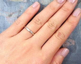 Platinum Wedding Band, Thin Platinum Ring, 2mm Wedding Band, Thin Platinum Size 6, Simple Ring Platinum Stacking Ring Stackable Wedding Band