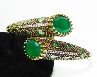 Sterling Silver By Pass Bracelet - GreenHinged Bangle style Cuff - Etruscan Revival - Boho Fashion - Vintage 1980's