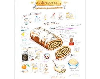 Makoviec illustrated recipe print, Poppy seed roll, 8X10, Kitchen art, Digital illustration, Food art, Kitchen wall decor, Polish bakery art