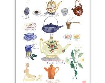 Tea print, Kitchen art, Tea chart, Tea pot print, Tea cup poster, 8X10 print, Blue kitchen decor, Watercolor painting, Blue wall decor