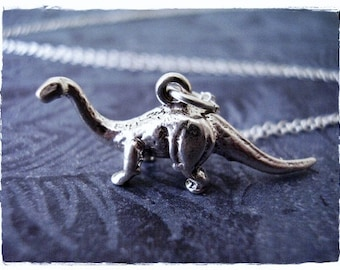 Silver Brachiosaurus Necklace - Sterling Silver Brachiosaurus Dinosaur Charm on a Delicate Sterling Silver Cable Chain or Charm Only