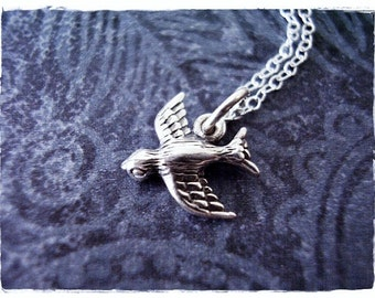 Tiny Sparrow Necklace - Sterling Silver Sparrow Charm on a Delicate Sterling Silver Cable Chain or Charm Only