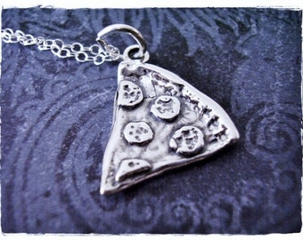 Pepperoni Pizza Slice Necklace - Sterling Silver Pizza Slice Charm on a Delicate Sterling Silver Cable Chain or Charm Only