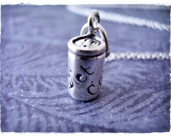 Silver Diet Cola Necklace - Sterling Silver Diet Cola Charm on a Delicate Sterling Silver Cable Chain or Charm Only