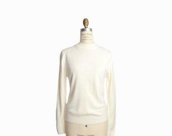 Vintage 90s Cream Knit Top / Mock Neck Top / 90s Minimalist - women's small