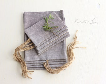 Photo print packaging Set of 10 grey linen blend fabric usb packaging 4 x 6 envelopes