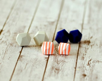 Geometric posts earrings set of three, Diamond shape studs, Rock studs, Earring Studs - grey, dark blue, white and coral stripes