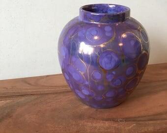 Vintage Lilac and Gold Glazed Pot / Violet Vase / Purple Vase / Purple and Gold Vase / Urn / Small Lilac Vase / Malachite Look