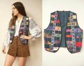 1970's Vintage Guatemalan Indigo Dyed Embroidered Cross Stitch Vest Waistcoat