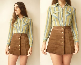1970's Vintage Indian Made Stripe Cheesecloth Blouse Folk Top Size Small