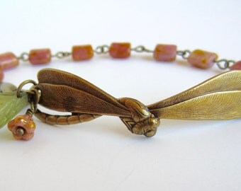 Dragonfly Bracelet Spring Jewelry Czech Glass Beads with Antiqued Brass