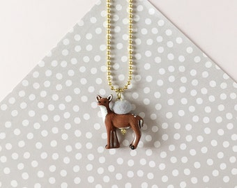 Animal Necklace for Little Girls, Deer Fawn, Charm Necklace, giddyupandgrow