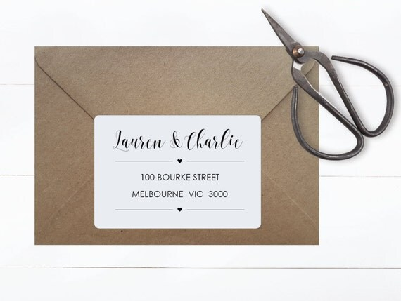 RECTANGULAR ADDRESS STICKERS | Customised Label Tags, Typography, Monochrome Style, Minimalist, Wedding, Bonbonerie, Adhesive, Heart