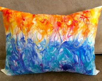 Hand Painted Pillow, Gift for Her, Watercolor Pillow Cover, Abstract Accent Pillow, Lumbar Pillow, Decorative Art Pillow