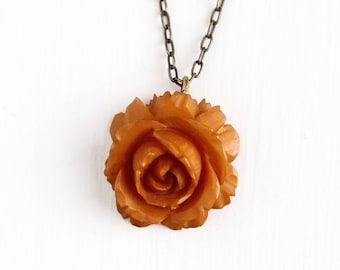 Sale - Vintage Carved Bakelite Rose Necklace - 1930s Art Deco Brass Tone Chain Butterscotch Brown Orange Flower Floral Fob Charm Jewelry