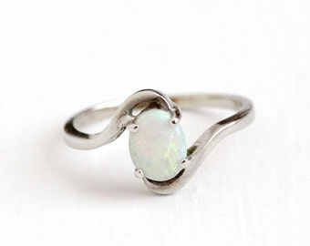 Sale - Vintage 10k White Gold Opal Gemstone Ring - Retro 1960s Size 8 1/2 Oval October Birthstone Gem Bypass Harmony Fine Estate Jewelry