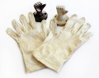 Small Cream Leather Gloves, Wrist Length