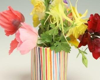 Small Ceramic Bud Vase, Pottery Flower Striped Vase, Ceramic Tooth Pick Holder, Hand Built Pottery, Stripe Vase, Gifts Under 20, Handmade