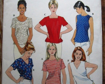Misses Pullover Top with Neckline and Sleeve Variations sizes 8 10 12 Simplicity Pattern 8523 UNCUT