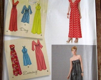 Misses Knit Dresses, Each in Two Length Day and Evening Styles Sizes 14 16 18 20 22 Simplicity Pattern 1804 UNCUT