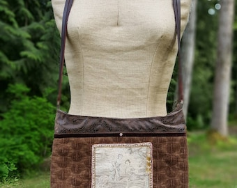 Handmade Purse, Brown Velvet Upholstery Fabric, Antique French Tapestry Panel, Leather Strap, Lined, Beaded, French Knots, Vintage Fabrics