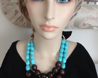 STOCK REDUCTION:  Ashira Statement Necklace Tiger Ebony, Turquoise Baroque Mother of Pearl Nacre, Makuba Knit Ribbon