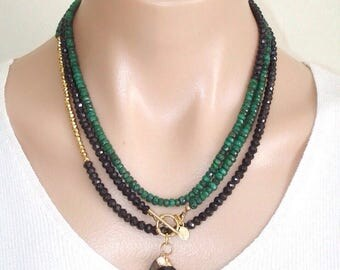 BLACK FRIDAY SALE:  Ashira Black Spinel & Natural Green Emerald, Gold Pyrite Gemstone Necklace with Charms One of a Kind 50% off