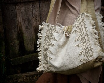 One of A kind Natural Bag perfect size for Laptop with 3 pockets made of linen cotton and raw silk Ethnic Natural