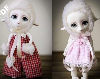 "PDF Pattern: ""Two LIttle Lambs"" for Forever Virginia 15cm Pet BJDs, LaLa the Lamb"