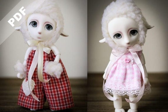 """PDF Pattern: """"Two LIttle Lambs"""" for Forever Virginia 15cm Pet BJDs, LaLa the Lamb"""