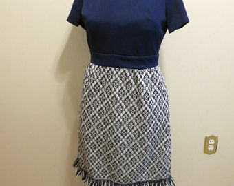 Dress fringe MOD blue white skirt tapestry print cobalt navy stretch XL