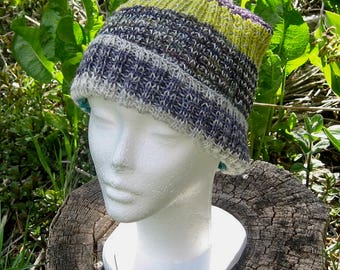 Soft Ribbing Winter Hat in Green, Grey, and Purple