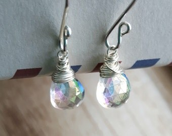 Handmade Earrings - Mystic Quartz Earrings - Sterling Silver Earrings - Wire wrapped - Rainbow Briolette - Gift for her - Elegant Earring
