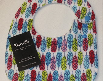 Bright Feathers Print Cotton Side Snap Terry Bib S