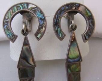 1950s Vintage Mexican Abalone Shell Dandle Earrings