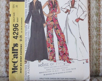 McCalls Size 12 1/2 Half Size Dress or Top and Pants Pattern 4296