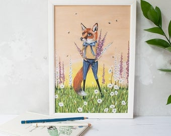 Red fox with summer foxgloves illustration print. Unframed A4. Gift for an animal lover. Summer home decor. Artwork print. Floral design.