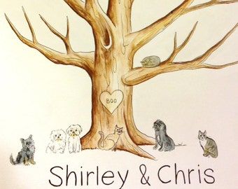 Alternative Guest Book wedding tree - Add your Pet, cat, dog- Original thumb print Water Color Illustration