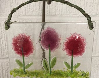 Fused Glass Flowers - Sun Catcher in Raspberry