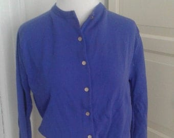 50s Deadstock Ban Lon Cardigan, Lilac, Sweater, Nylon,  Long Sleeve, NWT, Size 40, Medium to Large