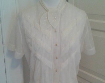 50s Ivory Blouse, Debcraft, Sheer, Nylon, Peplum, Intricate Pleating, Hand Detailed, Size M to L, 38 Bust