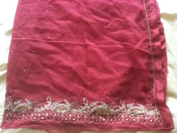 Vintage Shawl/Stole. Regency Style. Red Chiffon, gilt embroidery/beading.