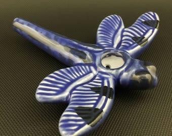 Ceramic Dragonfly // Blue Glass Glazed Pipe