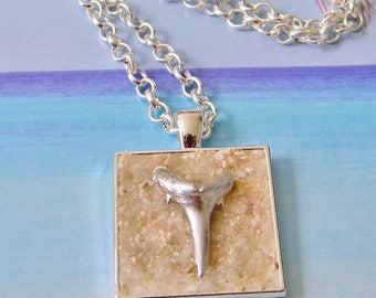 Silver bezel shark tooth necklace with sand, hand painted beach fossil necklace