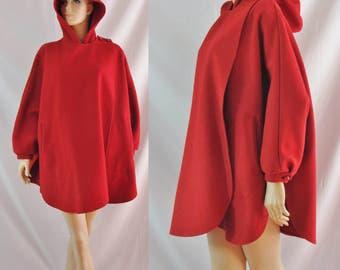 SALE Vintage Eighties Cape - 1980s Red Wool Cape Jacket - 80s Hooded Circle Coat - Avant Garde Fashion