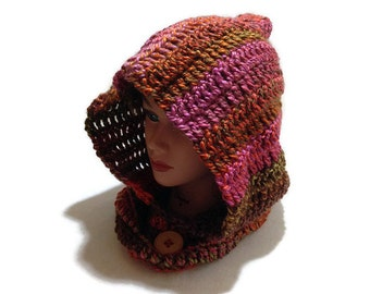 Ombre Hooded Cowl Pixie Hood Crochet Pixie Hat Crochet Neck Warmer Cowl Fall Colors Cowl Autumn Hooded Cowl Cosplay Cowl Renaissance Cowl