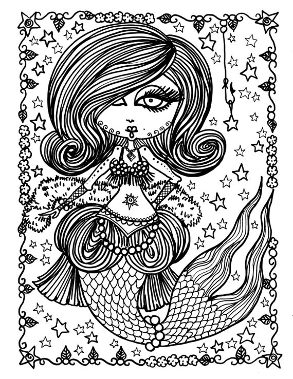5 pages burlesque mermaids to color digital coloring for adults fun coloring instant download mermaid fantasy art - Digital Coloring Book